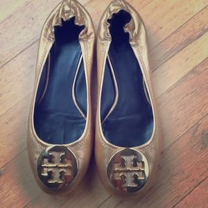 Tory Burch reva flats, gold leather size 7